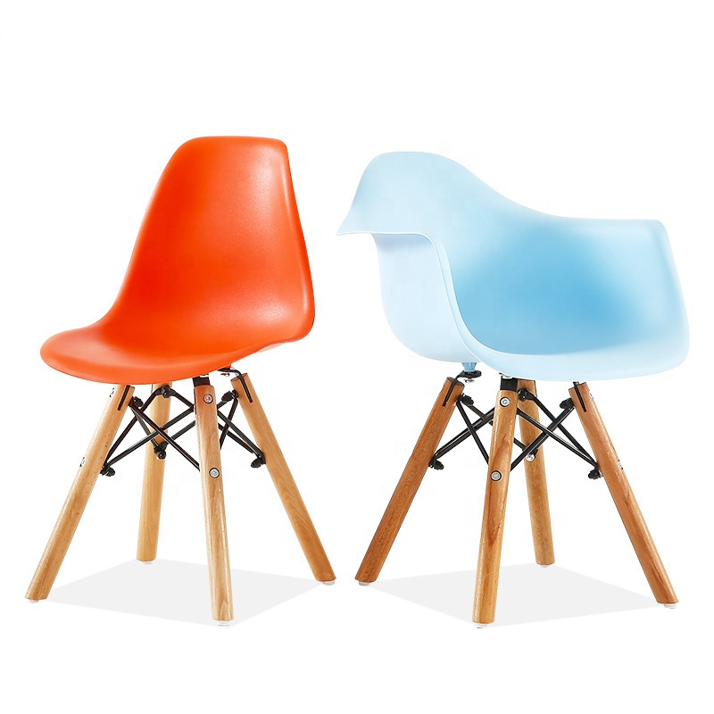 complete in specifications finely processed pretty and colorful cheap kid plastic chair with solid wood legs