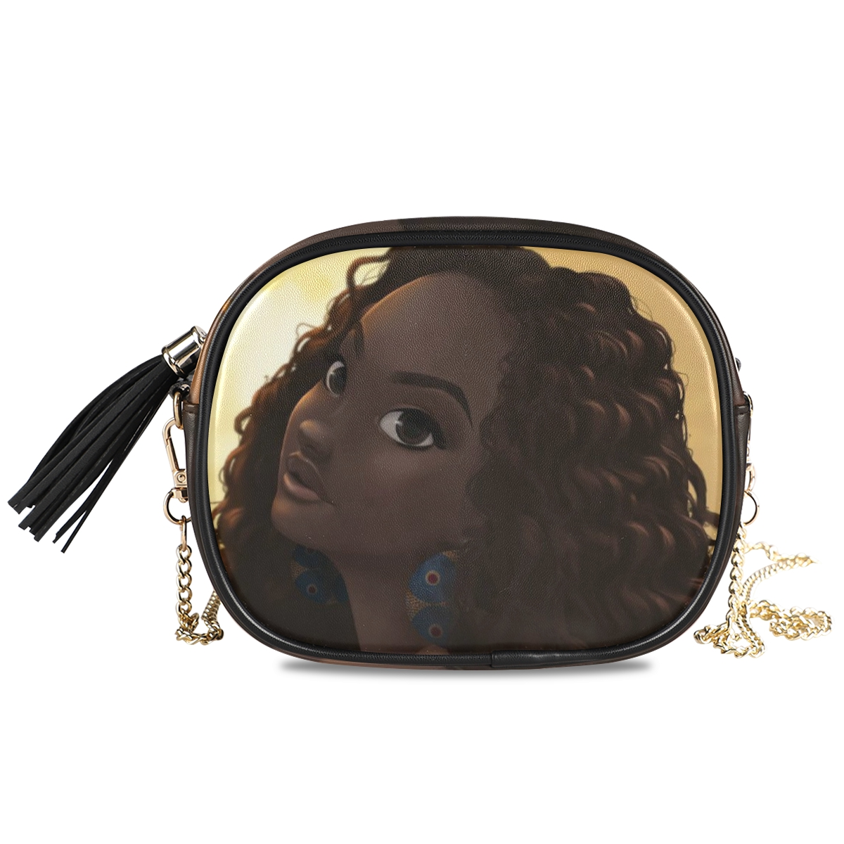 product-New Shoulder crossbody bag women bags 2020 PU Leather Chain bags Afro Girls black Women Mess-2