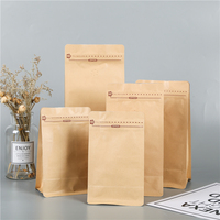 kraft paper aluminum foil flat bottom coffee been bag with zipper and valve for coffee and tea