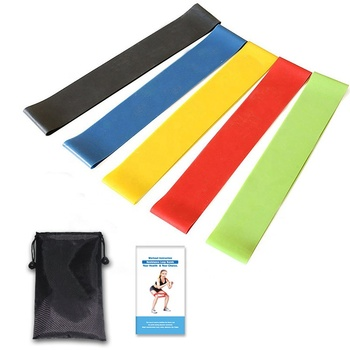 wholesale yoga 5 in 1 rubber resistance band customized hip latex resistance band 5 level fitness band with bag