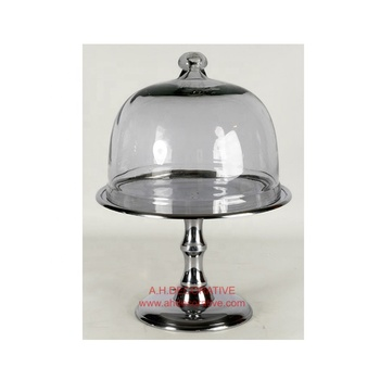 Cake Stand With Base And Glass Dome Buy Dome Cake Cover Cake Stand Fancy Wedding Cake Stand Silver Plated Cake Stands Product On Alibaba Com