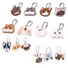 Wholesale character cute pvc silicone soft cartoon key cover cap with ball chain for keys
