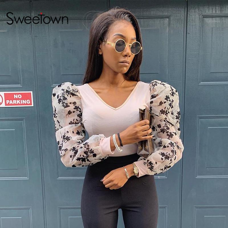 Sweetown, v-образный вырез, сексуальное, винтажное, облегающее, боди, из кусков, Цветочная сетка, с пышными рукавами, элегантные комбинезоны для ж...(Китай)
