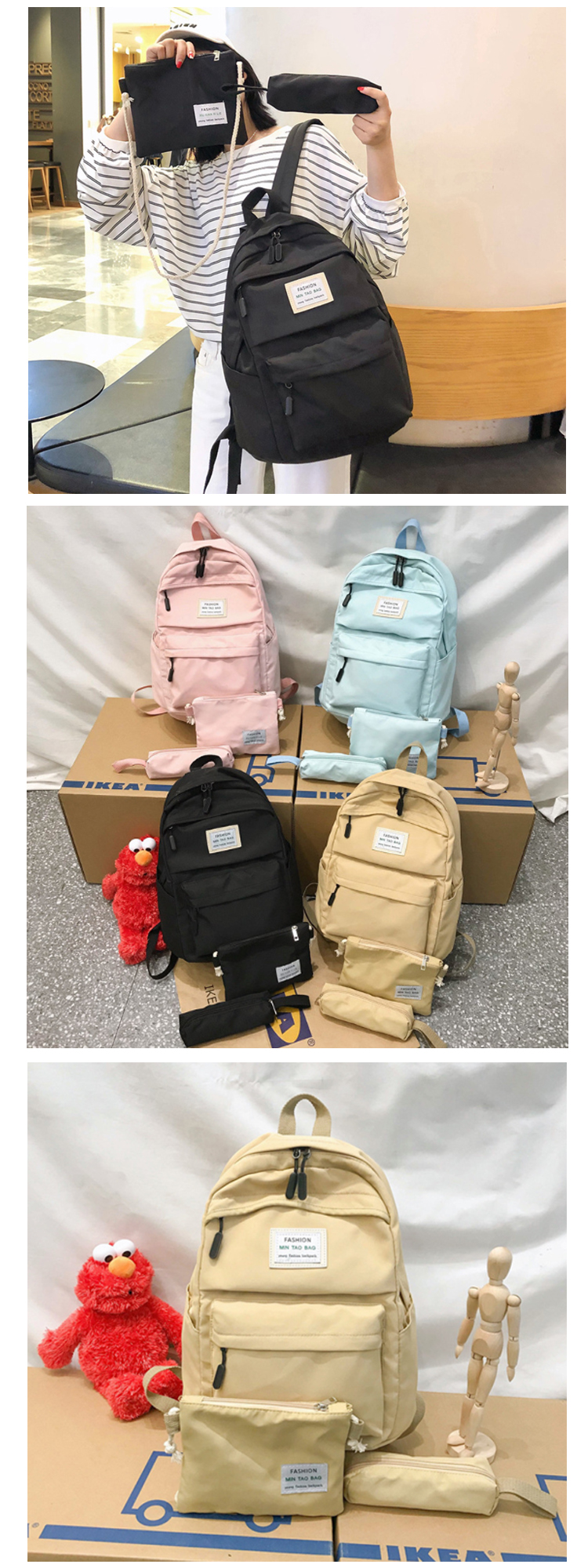 Osgoodway2 New Arrival Waterproof Nylon Fabric Candy Colors College School Backpack Bags Set For Girls