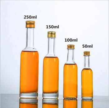 empty round shape glass bottle with aluminium cap for alcohol liquor spirit wine beverage 50ml 100ml 150ml 250ml