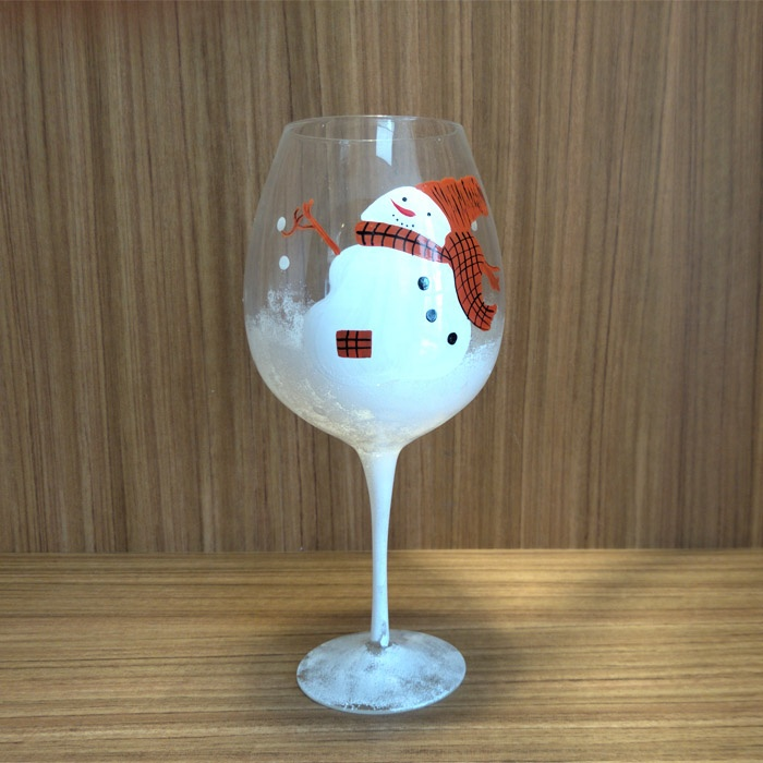 Factory wholesale high quality holiday mexican snowman wholesale painted wine glass photo