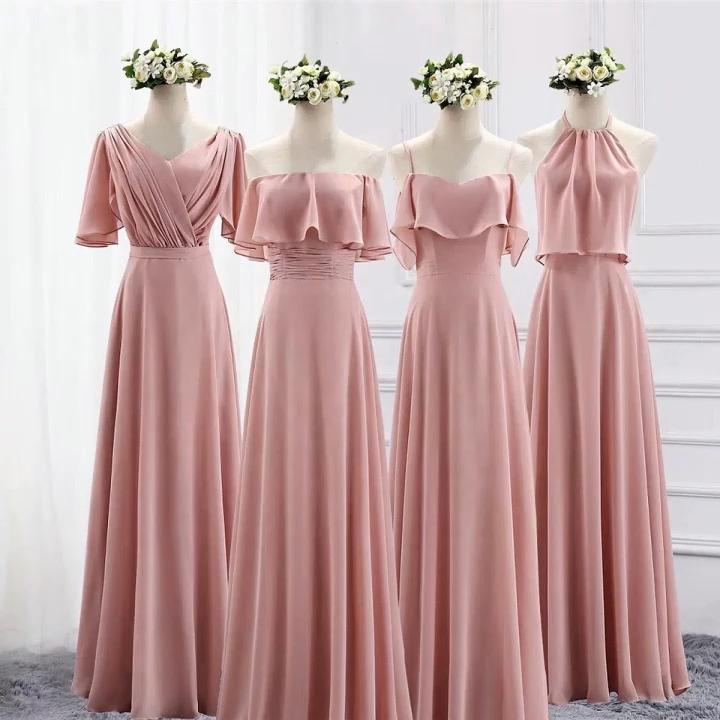 2020 नई बिना आस्तीन गुलाबी शिफॉन वर कपड़े स्पेगेटी पट्टा वर पोशाक लंबी