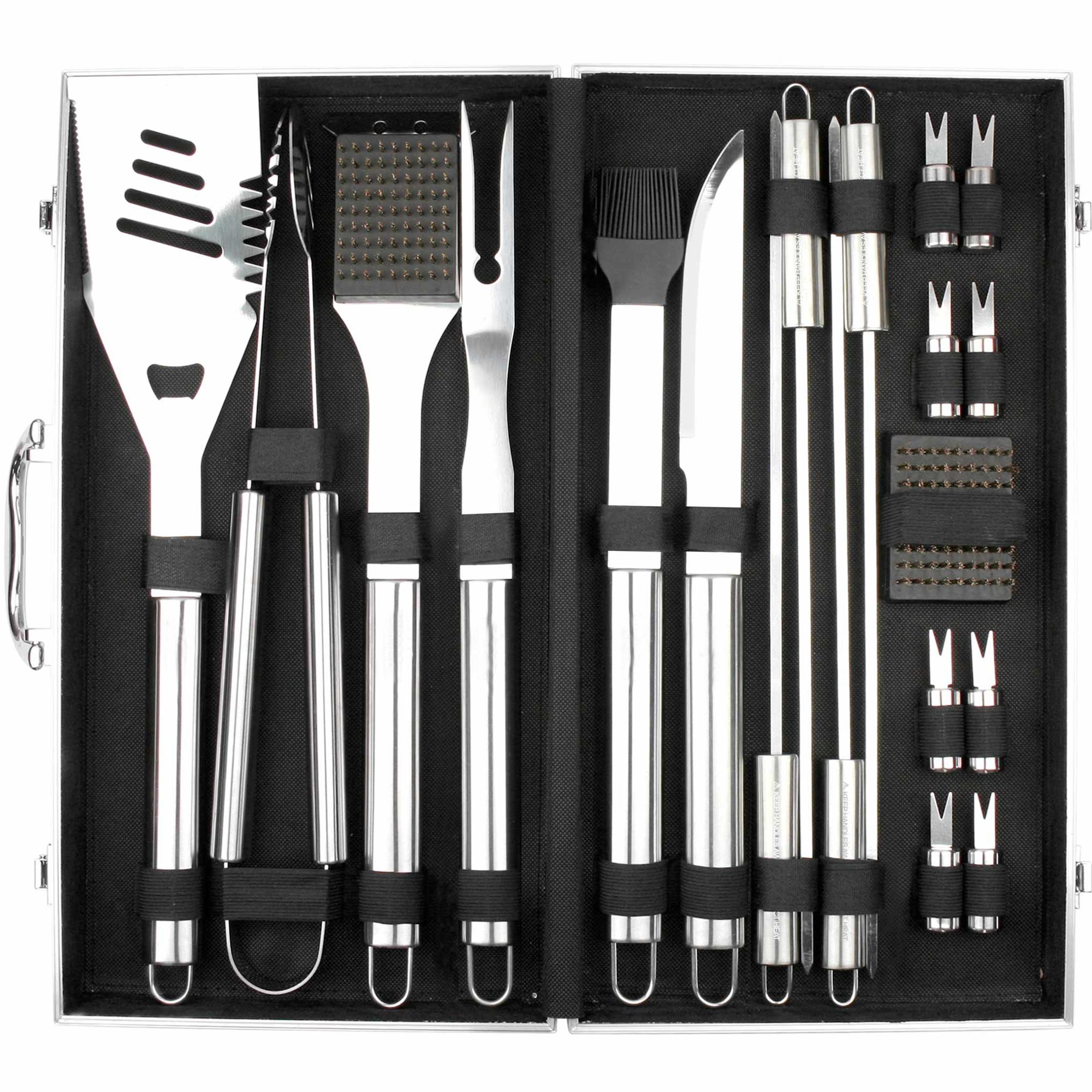 High quality 20 piece stainless steel bbq grill tools set with aluminium case