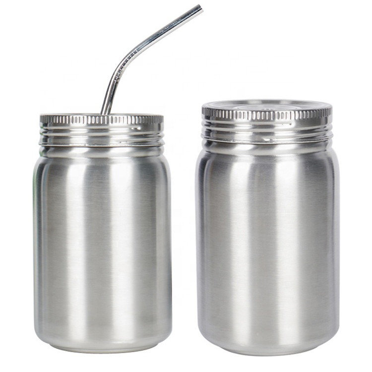 Double wall vacuum insulated stainless steel mason jar with lids and straw 500ml Travel mug