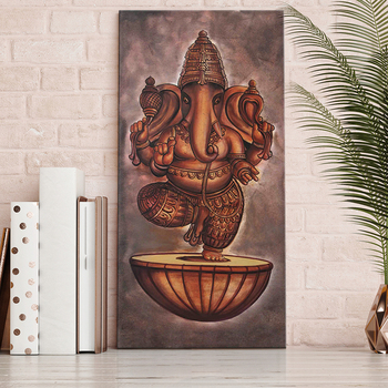 Custom Home decor large Lord Ganesha Religious canvas print wall art oil painting on canvas