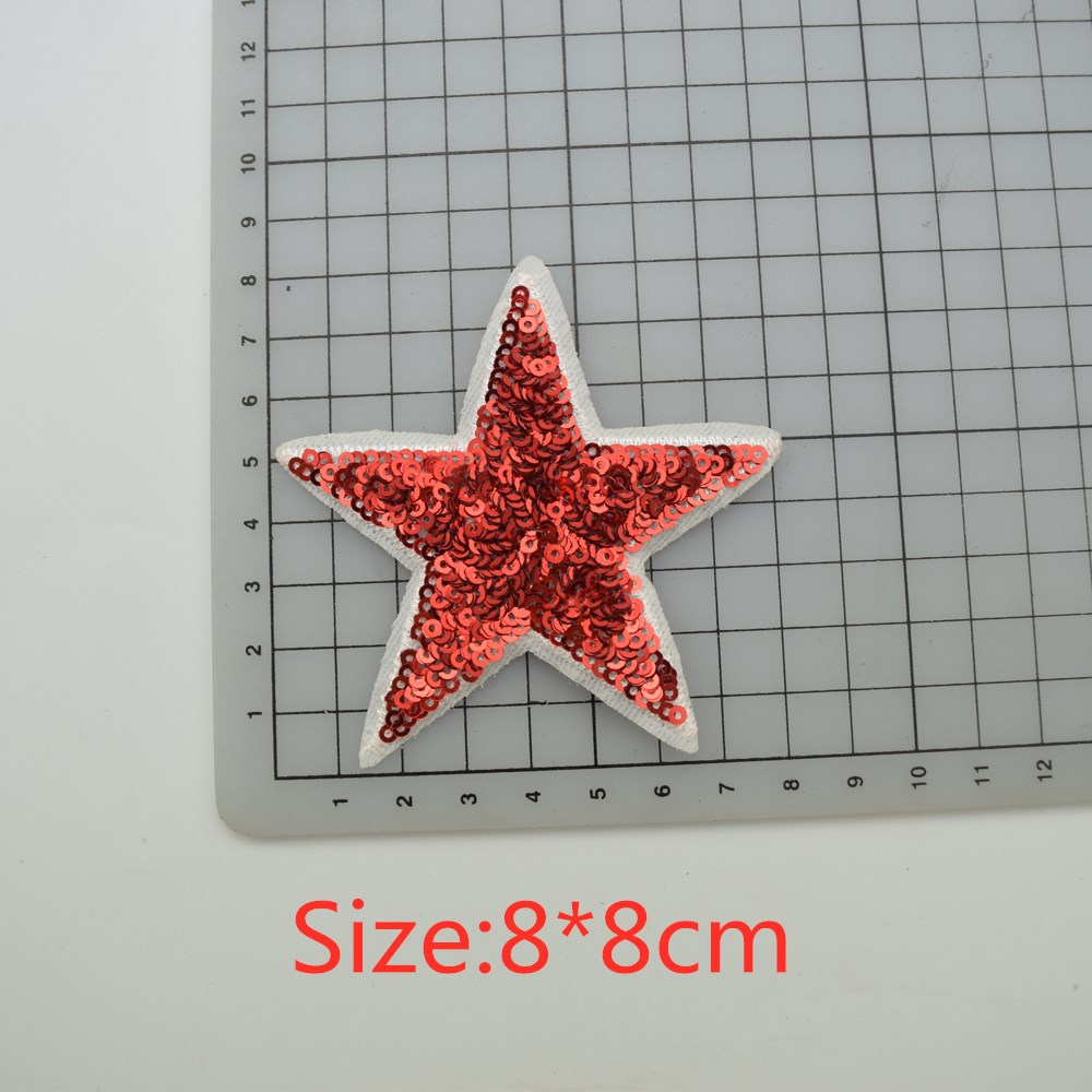 60pcs 6colors heart buttfly star sequin Iron-On Applique/Embroidered Patch -Sequin Heart badge for clothes