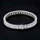 KRKC&CO 8mm Square 18k Men's Jewelry CZ Diamond Iced Out Tennis Bracelet