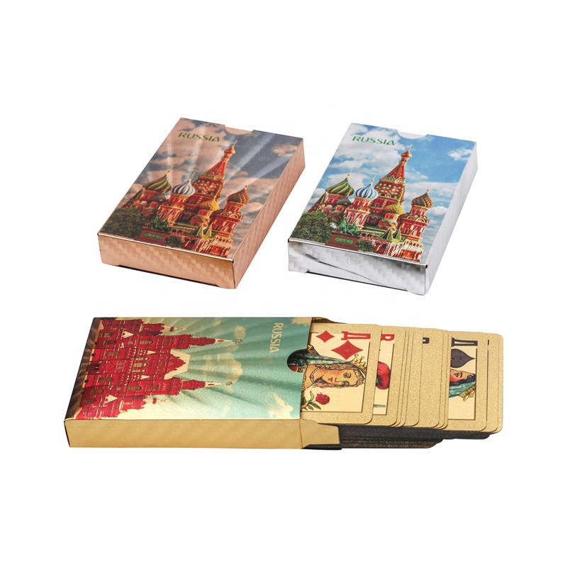 Русские художественные Pokers 24K золотые игральные карты покер игра палуба Золотая фольга покер набор пластиковые волшебные карты водонепроницаемые карты