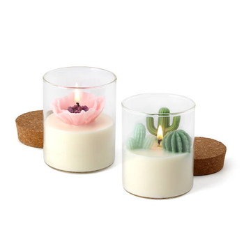 Home decorative custom artificial plant glass container candles, glass soy wax candle jar with wooden lid for candle making