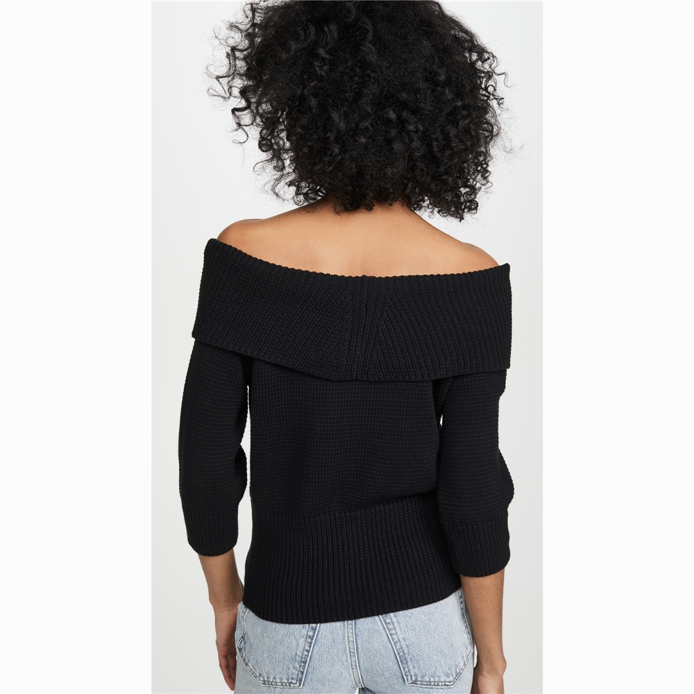 Multifonctionnel sexy hors épaule noir pull pull femmes fabriquées en Chine