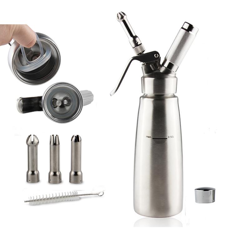 Kecil MOQ Campuran Logam Alumunium Berkualitas Tinggi Whipping Cream Dispenser 500 Ml dengan Plastik atau Logam Nozel dan Karet