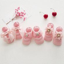 3 пар/компл.; Обувь для новорожденных; Мягкие хлопковые носки с кружевными цветами и бантом для маленьких девочек; Нескользящие носки для мал...(China)