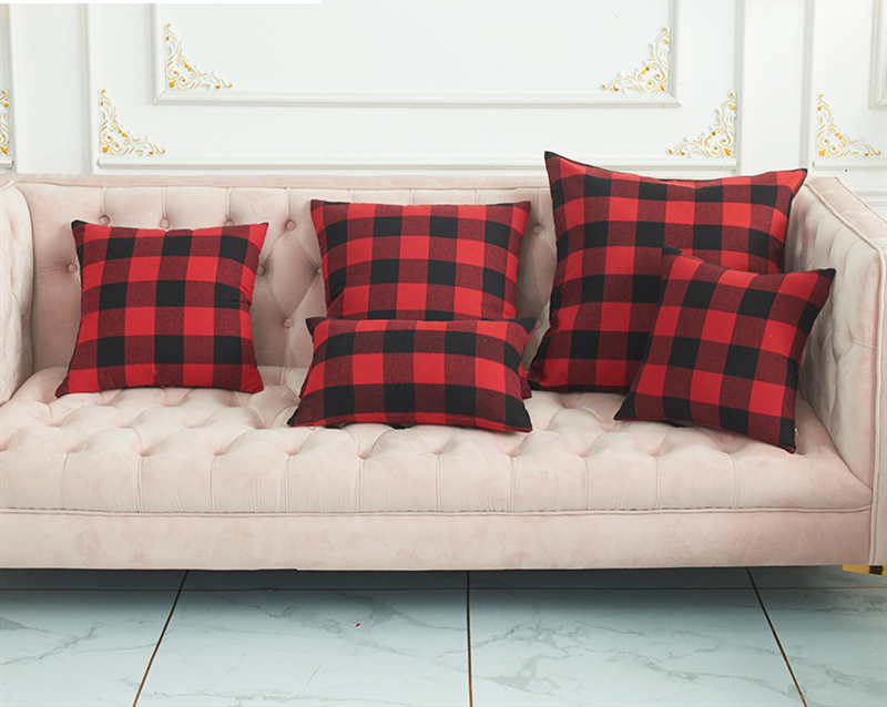 new styles of plaid flannel cushion covers for Christmas