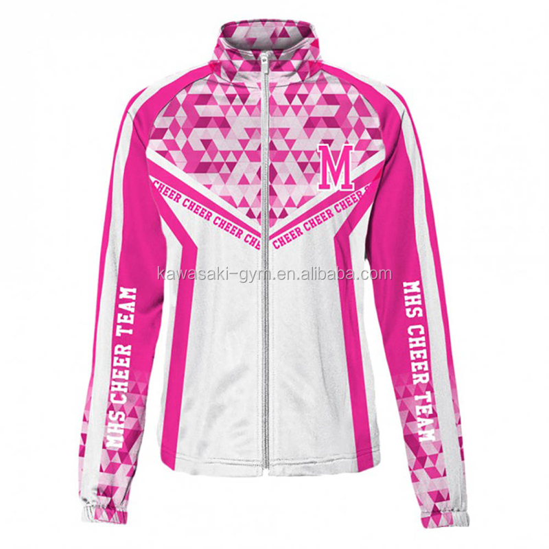 OEM design your own sublimation women fashion sports cheerleading jacket
