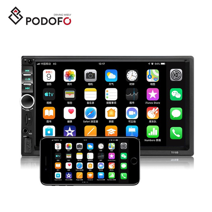 Podofo Car Video Radio Autoradio 7&quot; 2 Din Car MP5 <strong>Player</strong> 7018B Bluetooth Mirror Link USB SD AUX Support Rear View Camera