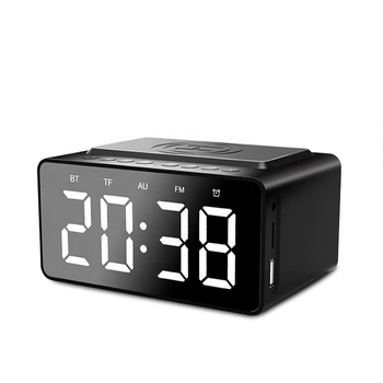 QI Wireless Charging Clock Alarm Bluetooth Speaker with FM Radio Portable LED Wireless Speaker AUX Mp3 Music Player 2020