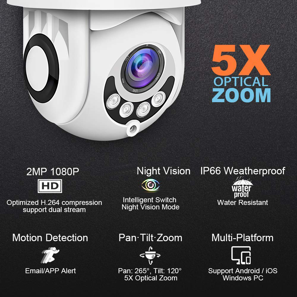 Outdoor 1080 P Wifi Wireless Ptz Mini Ip Dome Camera Met Nachtzicht, Bewegingsdetectie