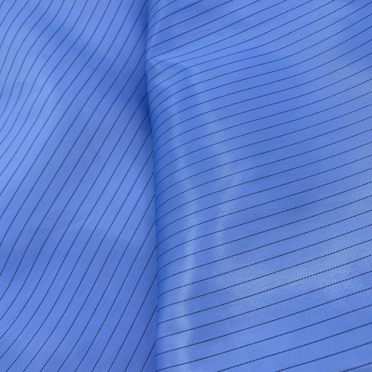 Wholesale Stock Anti-Static Fabric/Stock Polyester ESD Cleanroom Antistatic Polyester Stripe/Grid Fabric
