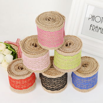 Wholesale 2M/Roll 10colors Natural Jute Burlap Hessian Ribbon with Lace For vintage wedding Decoration Supplies DIY craft making