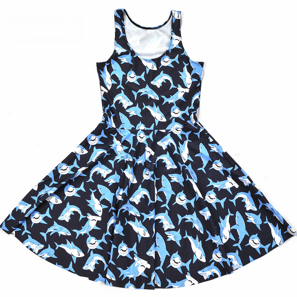 Cheap New Girl's Women Dress Print cartoon Summer Sleeveless Beach dress