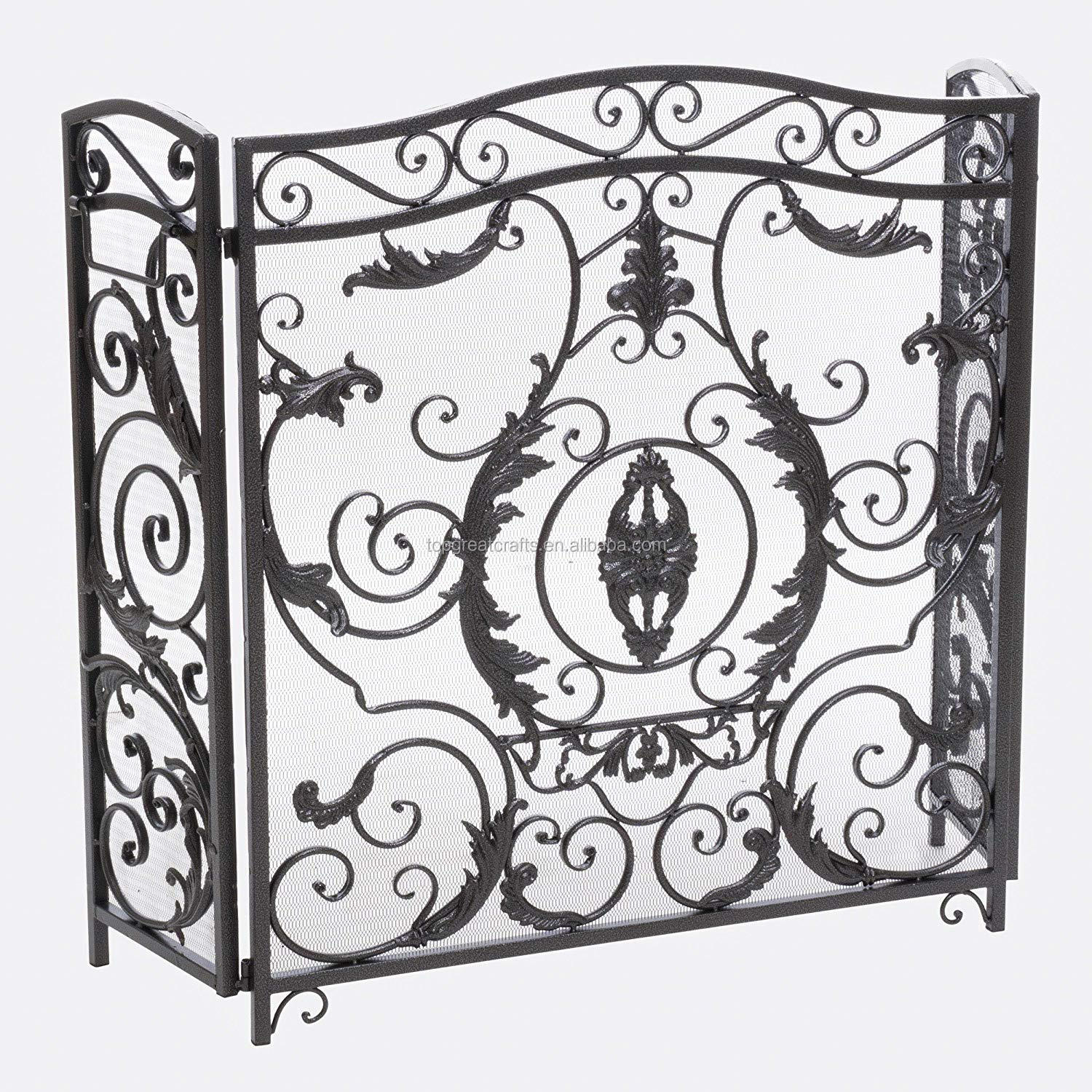 Nordic amorous feelings iron art screen is complex and luxuriant decorative pattern adds protection and elegant fireplace screen