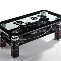 hot sale coffee table with tempered glass curved glass