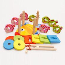 Детские деревянные магнитные игрушки для рыбалки Красочные Блоки геометрические формы сортировка стек игрушки родитель-ребенок Edcuational игр...(Китай)