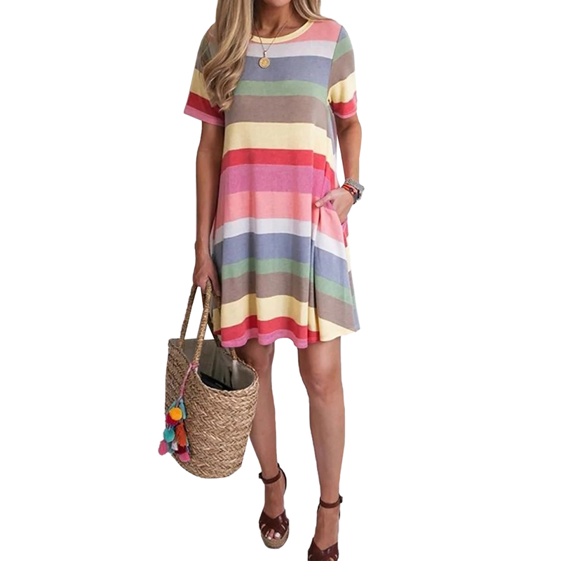 High Quality Women Rose Striped Color Block O Neck Short Sleeve Mini T-Shirt Casual Dress