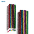 Metallic color pencil design water soluble fluorescent unsharpened sparkling glitter pencils with eraser top