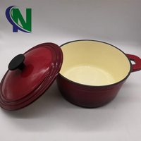 Red French Enameled Cast Iron Round Dutch Oven