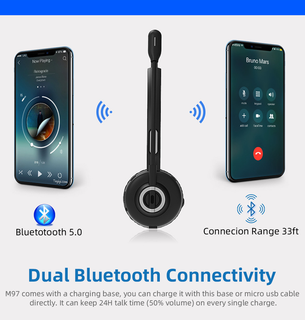Over Head Earphones Wireless Bluetooth 5.0 Headsets Headphones with Mic for Call Center Driver Trucker Warehouse Transportation