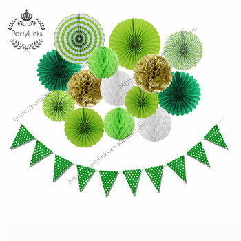 St Patrick s Day Paper Decoration Set Paper Rosette Fans Honeycomb Ball Pennant Flags Banner Wedding Birthday Party