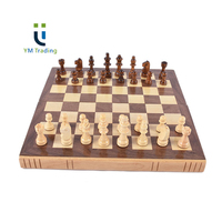 YUMING Classic Rubber Wood Frame Chess Box 2.5 inch Chess Pieces Deluxe Wooden Chess Sets