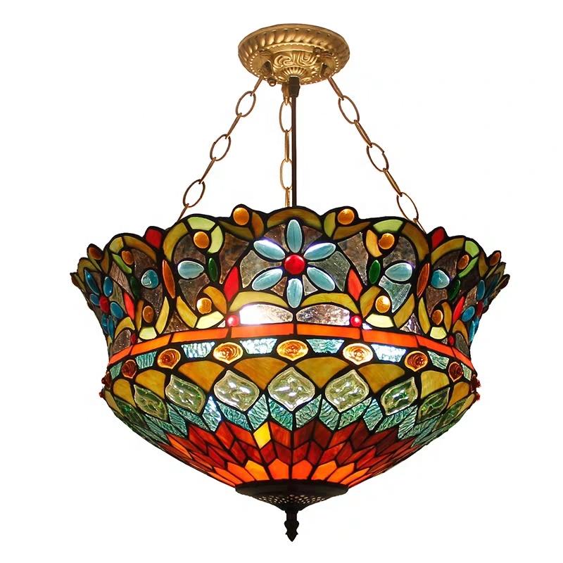 Venta al por mayor lámpara de techo de cristal tiffany