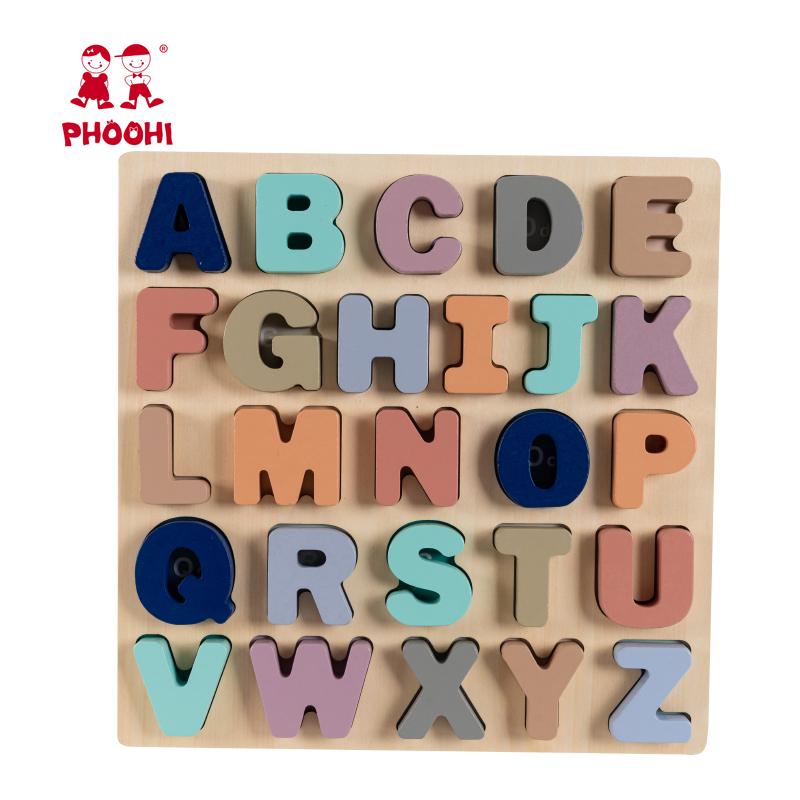 Bayi Pendidikan Bermain Huruf Permainan Mainan Anak Kayu Alfabet Puzzle untuk Anak-anak