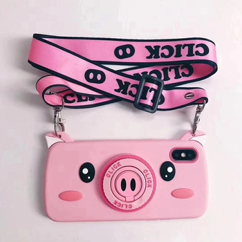 Cartoon Pig Case For iPhone 7 8 6 6S Plus Phone Case Soft Silicone Back Cover Holder Lanyard Case For iPhone X XR XS Max Fundas