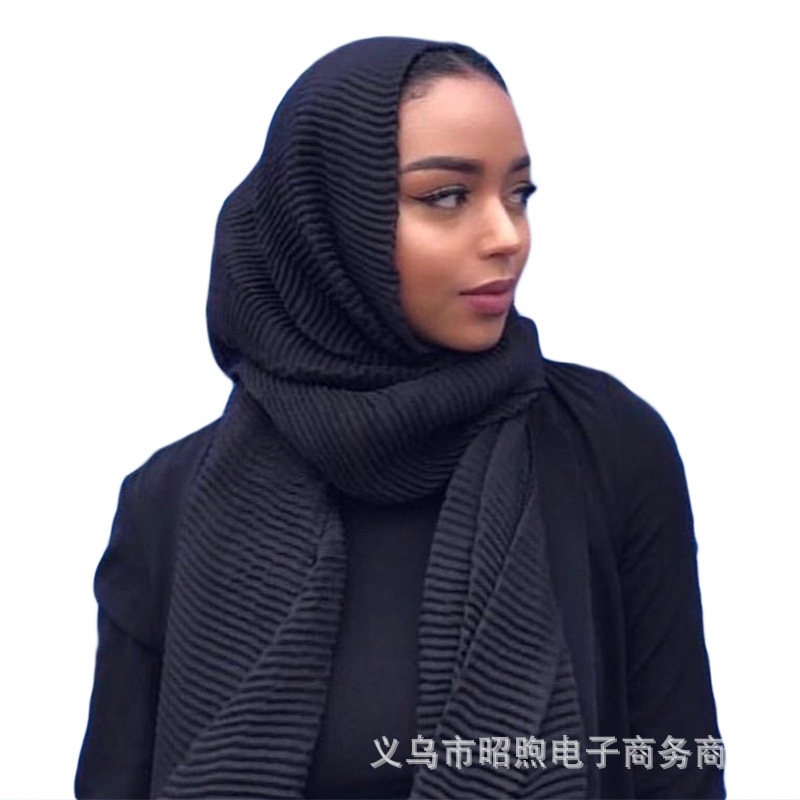 Ins foreign trade hot sale scarf pure color crumpled cotton and linen scarf Hui women's hijab ripple hijab