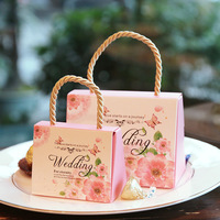 custom gift kraft paper box wedding gift card box with handle