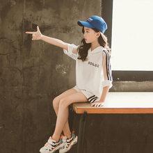 2020 летняя детская одежда для девочек, футболка с капюшоном, шорты, брюки, 3, 4, 5, 6, 7, 8, 9, 10, 11, 12 лет, спортивные костюмы для подростков, детская од...(Китай)