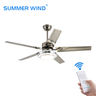 52 Inch retro 3-speed remote control decorative wooden ceiling fan with light