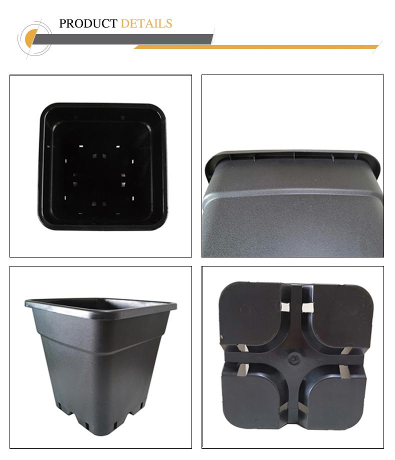 Wholesale PP Hot Selling Black Durable 5 Gallon Square Cheap Plant Pots
