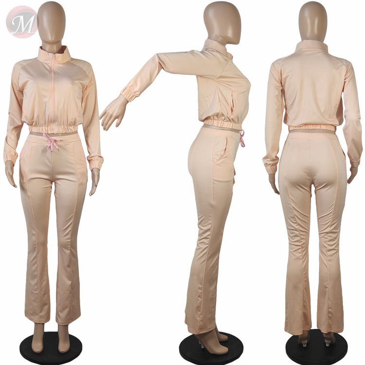 0082641 Best Seller Fashion Casual Solid Color Trumpet Sexy 2 Pcs Track Suit Outfits Two Piece Set Women Clothing For Women
