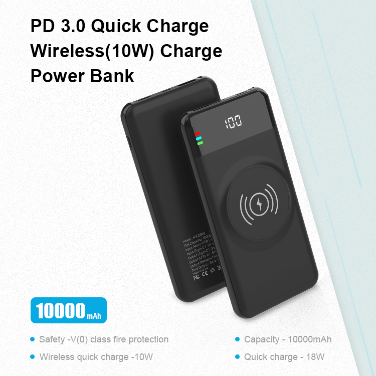 Fast Charging Power Bank 10000mah Portable Charger PD 3.0 18W QC 3.0 18W Qi Wireless Charger