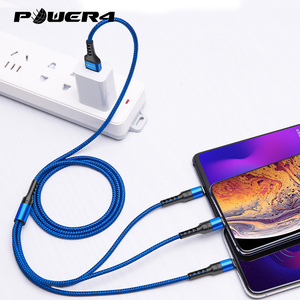 Mobile Phone 3 in 1 USB Cable With Micro USB/Type C Charging Connector For Lightning iOS Android Phone Charger