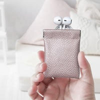promotion electronic accessories carry mini packing leather storage earphone pouch bag